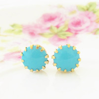 Turquoise Blue Post Earrings Vintage Glass Swarovski Jewel in Tiffany Brass Setting Surgical Steel, Wedding, Bridal, Bridesmaid, Preppy