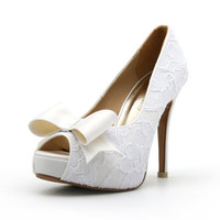 Lace White Wedding Shoe with Bow. Peep Toe Lace White Bridal Heel. Wedding Shoes. White Shoes.