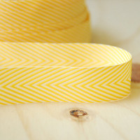 5 Yards Yellow Chevron Twill Tape Ribbon