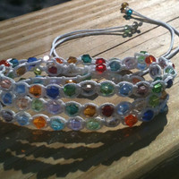 Spring Burst Triple Wrap Bracelet Multi-Colored Glass Beads