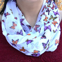 Infinity Scarf with Butterflies. Eternity Scarf. Circle Scarf. Women Accessories. Loop Scarf, Tube Scarf