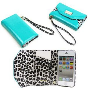 JAVOedge Leopard Clutch Wallet Case with Wristlet for the Apple iPhone 5s, iPhone 5 (Turquoise)