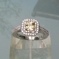 RESERVED Final Installment for Pale Yellow Grossular Garnet Double Halo 14k White Gold Engagement Ring