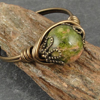 Wire Wrapped Ring Unakite Ring Antique Brass by OstaraMoonJewelry