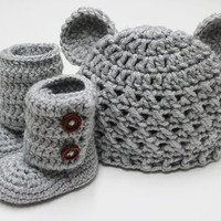 Croceted Baby Teddy Bear Beanie and Baby Booties by JCrochetShop