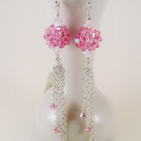 Sterling Silver Pink Swarovski Crystal Dangle by TheSilverFindings