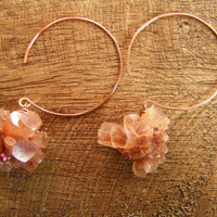 Raw Stone Aragonite Earrings Crystal Clusters on by cuppacoffee