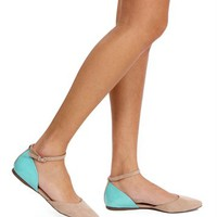 Blush/Mint Ankle Strap Flats