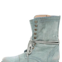 Steve Madden Troopa Blue Leather Lace-Up Combat Boots