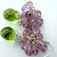 Peridot Briolettes, Amethyst Rondelles, Sterling Silver Earrings    -   Hyacinth