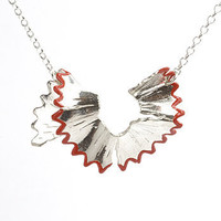 Pencil shaving necklace (red) by Vic Mason
