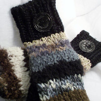 Knit Mittens with Black Bottle Caps by ourchildrensearth on Etsy