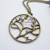 Necklace---antique bronze big round tree and antique silver anchor pendant