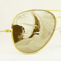 New Ray Ban Aviator Sunglasses RB3025 Chromax Gold Mirror Rayban from Sunglass Mania