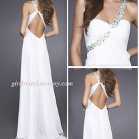 Charming one-shoulder beading floor-length prom dress-4colors from Your Closet