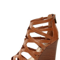 Bamboo Royce 02 Chestnut Brown Strappy Cage Wedge Sandals