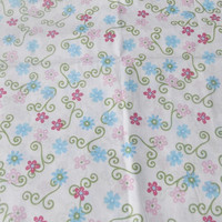 Pink and Blue Floral Fabric by HollyHomemadeGoodies on Etsy