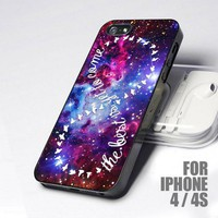 Infinity Quote At Purple Galaxy Nebula design for iPhone 4 or 4s case
