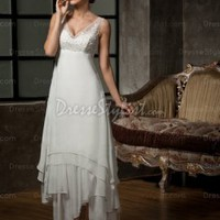 Find affordable A-line V-neck Chiffon Ankle-length White Appliques Wedding Dress
