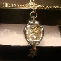 Steampunk Vintage Watch Movement Necklace with Heart Lock (1001)