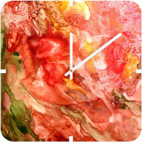 Rosie Brown Abstract Red Yupo Custom Clock