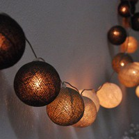 20Mixed Earth Tone Cotton Balls Fairy String Lights wedding party