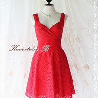 Sound Of Summer II - Sweet Elegant Spring Summer Lacy Sundress Red Color Thick Cotton Lace Party Wedding Cocktail Dress