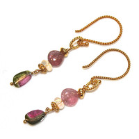 Delicate Watermelon Tourmaline Slice Earrings Ethiopian Opal Gold Vermeil Dangle Gemstone Jewelry