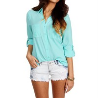Aqua Button Front Top