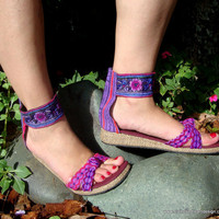 $34.00 Purple Hmong Embroidered Batik Ankle Strap by SiameseDreamDesign