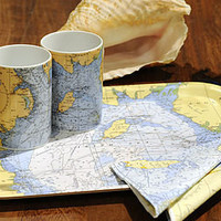 irish sea chart tray by living by the seaside | notonthehighstreet.com