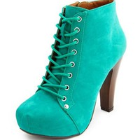 Lace-Up Platform Heel Bootie: Charlotte Russe