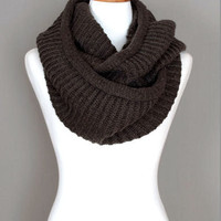 White Soft Infinity Knitted Scarf #1