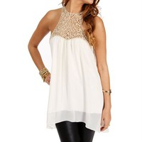 Cream Crochet Trapeze Tunic