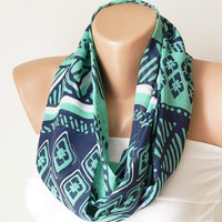 Infinity Scarf,Blue, green and white,  loop circle geometric handmade from chiffon