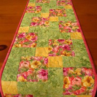 Floral Quilted Table Runner Spring Easter