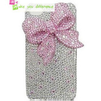 Free shipping iPhone 4 case, iPhone 4s case, case for iPhone 4 mobile case handmade: Bling lovely pink bow i92440998 (custom are welcome)