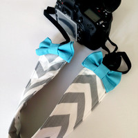 DSLR Camera Strap Cover, Canon and Nikon Compatible Grey & White Chevron with Teal Bow