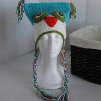 Turquoise and White Owl Hat - Youth Boy or Girl 8 -12 years