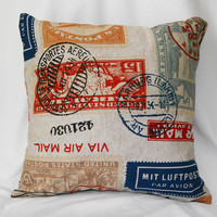 Linen Pillow Throw Cover  Decorative Traveler Stamp by pillows4fun