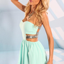 Mint Strapless Mini Dress with Silver Sequin Strap Detail