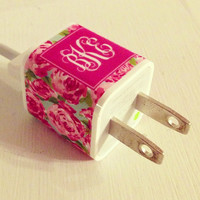Lilly Pulitzer Monogrammed IPhone Charger Sticker