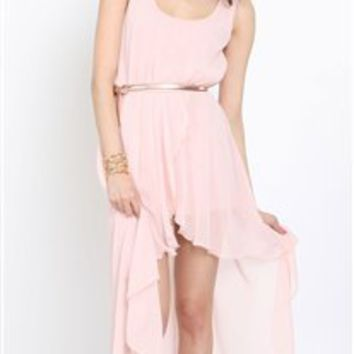 Love Peach Asymmetrical Maxi Dress- Love Hi Low Dresses- Love Dresses- $84.99