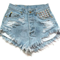 Shredded and studded high waist shorts by deathdiscolovesyou
