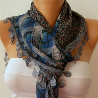 Women  Scarf  Headband Necklace Cowl with Lace  by fatwoman-fv132