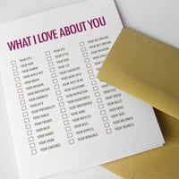 Love Card Funny For Man Mature What I Love About You by NeatThings