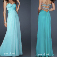 Elegant chiffon prom dress - blue green (4colors)