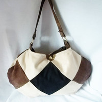 Patchwork suede Boho hand bag  brown tan black cream by ACAmour
