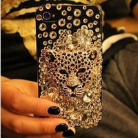 3D Alloy Bling Crystal Leopard Head DIY cell Phone iPhone4 4S 5 5G Case Deco Kit