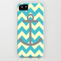 Chevron Anchor iPhone Case by Mercedes Lopez